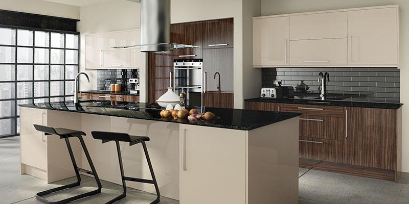 captivating beige gloss kitchen | Glacier Gloss made to measure - Noche & Sand Beige ...