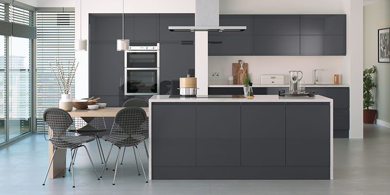 Lucente Anthracite Gloss Kitchen cabinet collection by On Trend