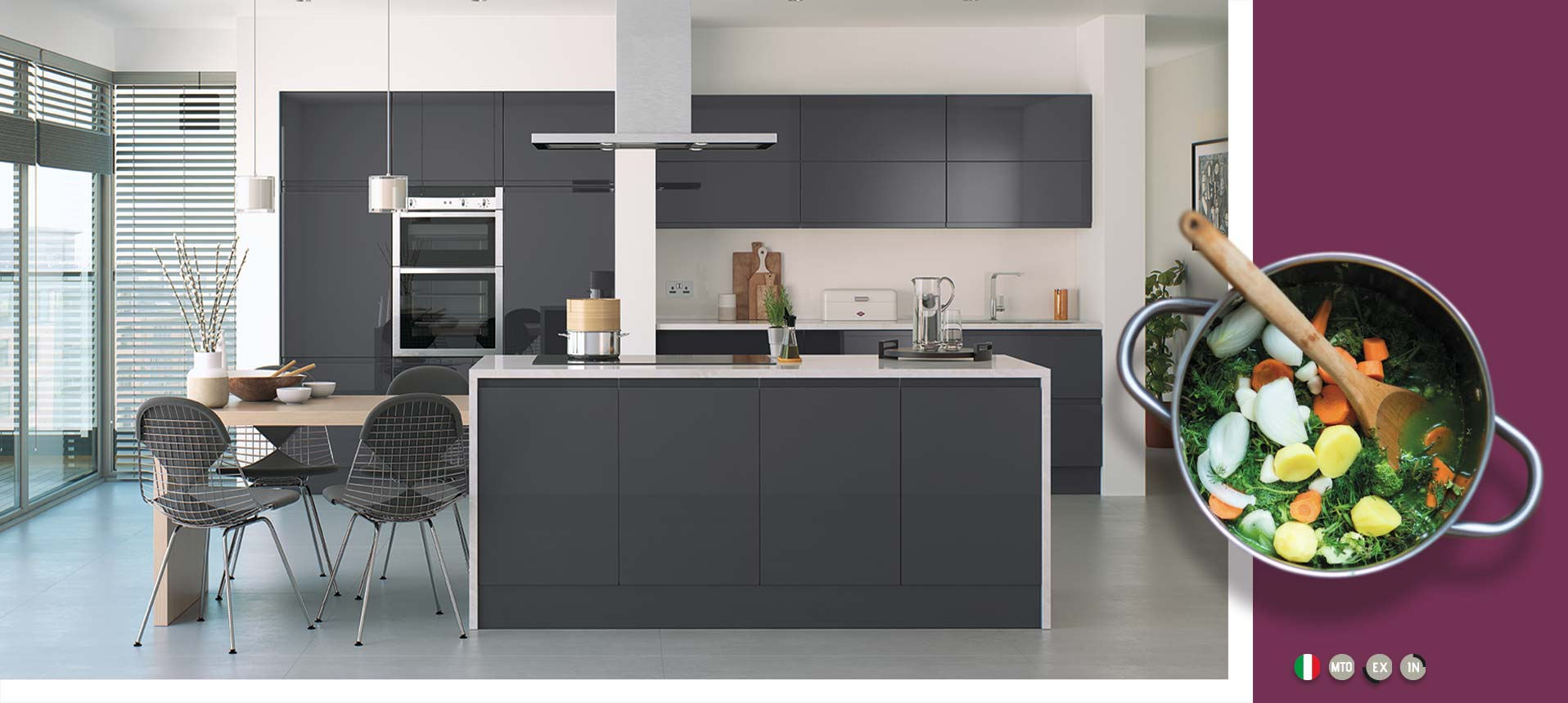 Lucente Anthracite Gloss Kitchens On Trend Kitchen