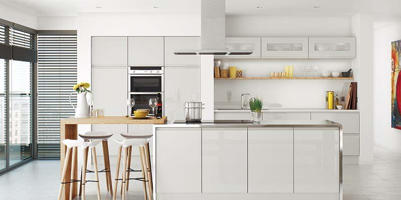 Lucente Light Grey Gloss Kitchen cabinet collection by On Trend