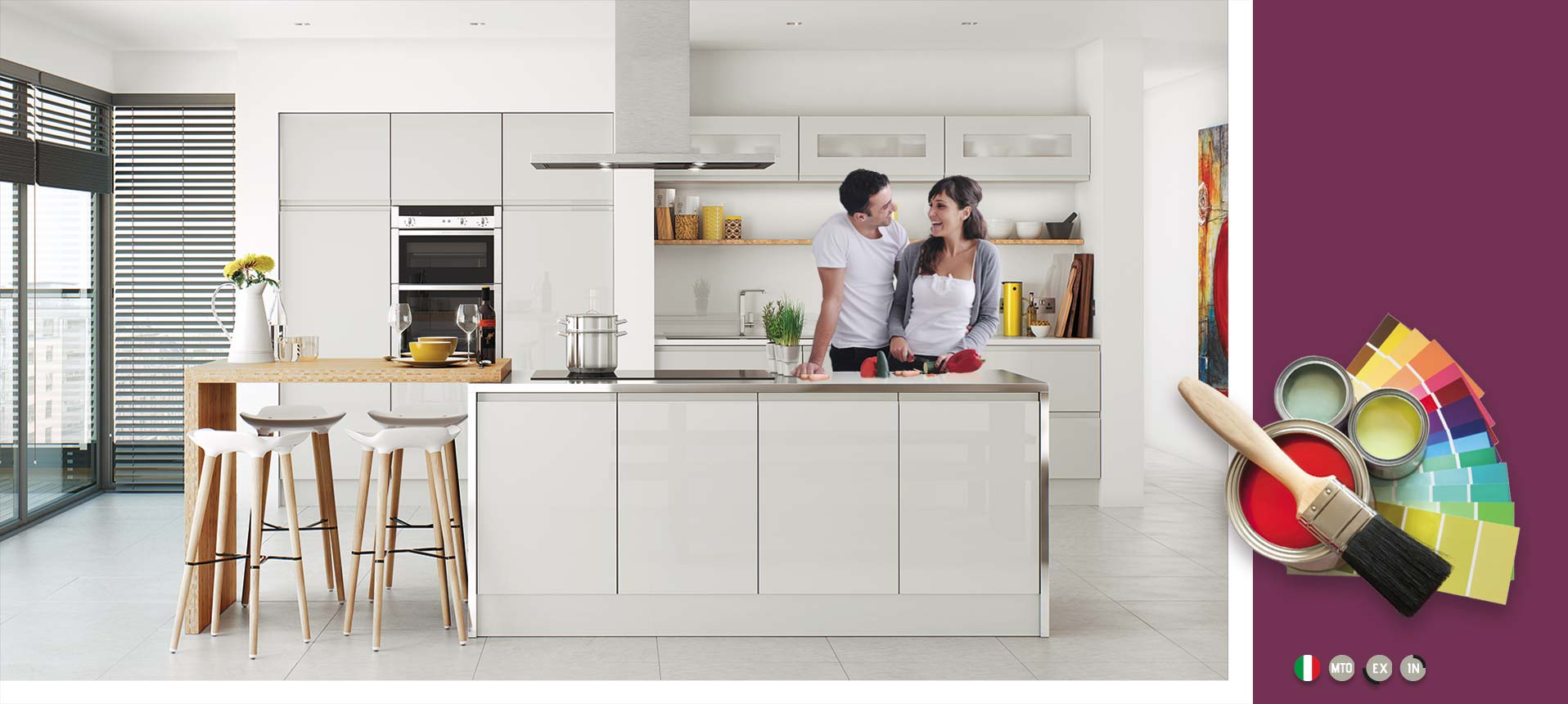 High Gloss Kitchen Cabinets | White & Grey On Trend Kitchen Collection