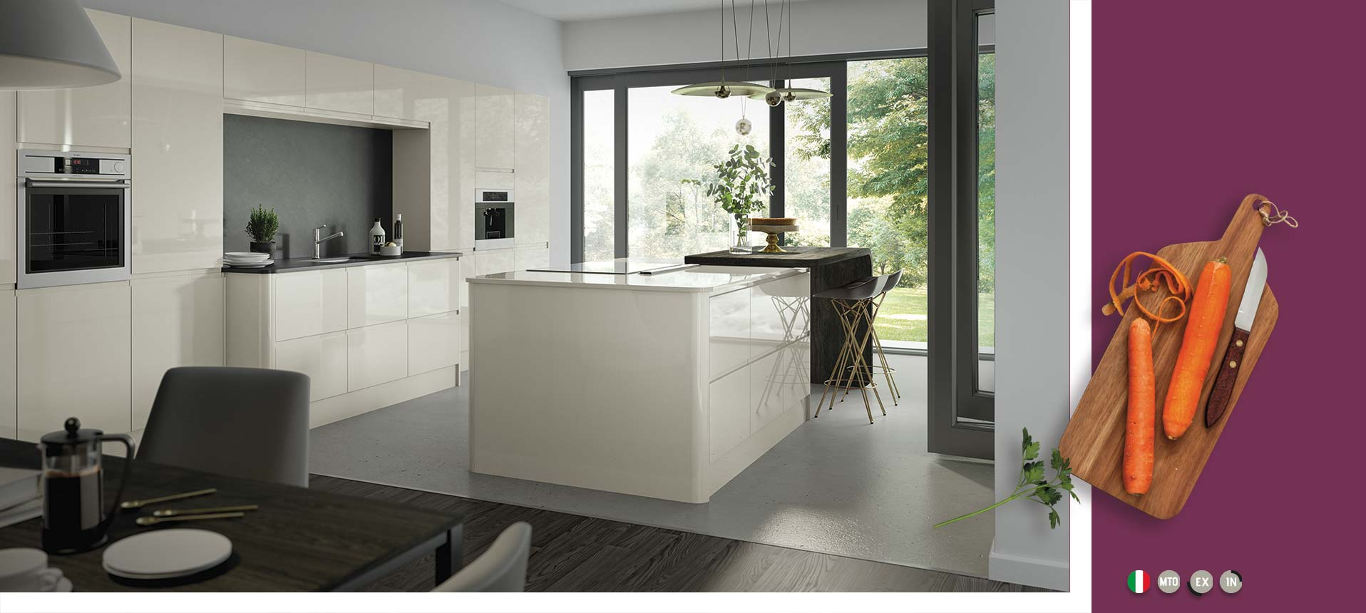 Lucente Cream Handleless Kitchen On Trend Collection