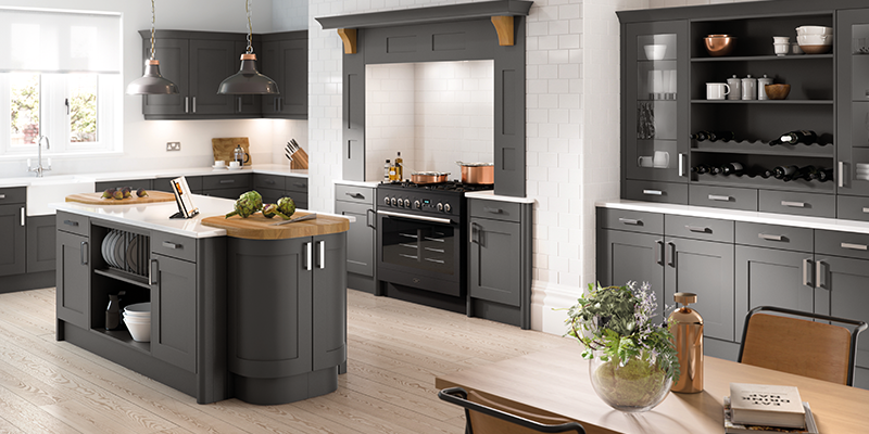 Oxford Kitchens Reinvigorated Shaker Door Styles - Anthracite grey kitchen