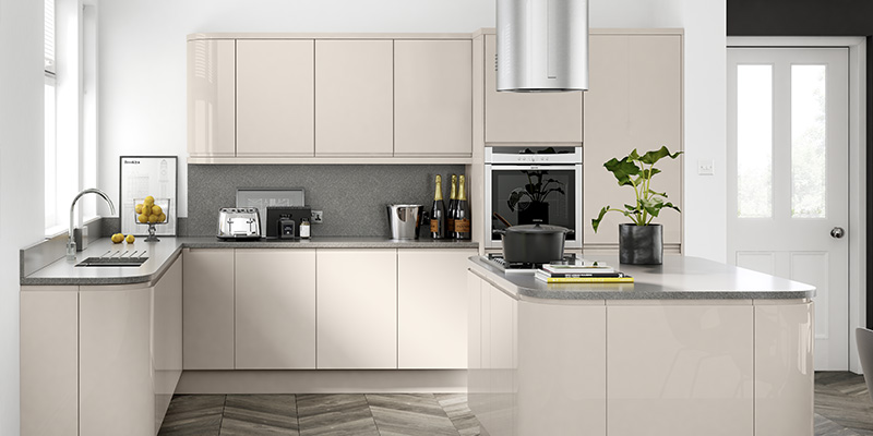Lucente Gloss Kitchens White Handle Less Kitchen Doors